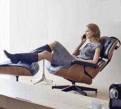 Muebles de diseño moderno de madera cuero réplica Charles Eames Silla