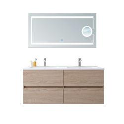 Salle de bains moderne avec lit double de la vanité de bassins et de loupe