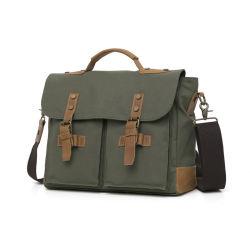 Vintage брелоки из натуральной кожи сумки для ноутбуков 14 дюйма армии зеленый холст плечо Сумки мужские поло Messenger