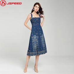 بالجملة سيّدة جينس [كستوميزد] [فلورل] [إمبرويدرد] نساء دنيم ثوب لأنّ فصل صيف