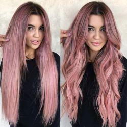 De fibra larga de encaje ondulado de color rosa Wowen peluca Cosplay sintético con diseño personalizado