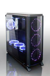 زجاج مصنع مصنعي الأجهزة الأصلية (OEM) المقسّى مروحة RGB 7 لون منتصف البرج الألعاب حافظة حالة الكمبيوتر السلسلة E للسعر