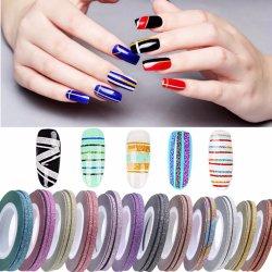 Блестящие цветные лаки Shinning разборка лента лак для ногтей чередование линии лак для ногтей искусство украшения