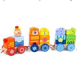 De houten Bouwstenen van het Stuk speelgoed van de Trein van het Speelgoed Voor de Gift van Jonge geitjes