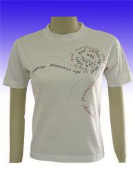 首の女性のTシャツのあたりで編む方法純粋なカラー