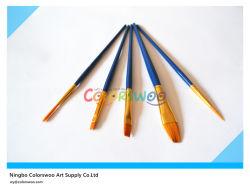 5PCS Wooden Handle Nylon Hair Artist Brush in PVC Bag per Painting e Drawing (colore di Blue)