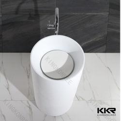 白い人工的な石造りシリンダー支えがない洗面器