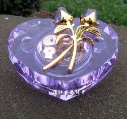 Boîte à musique de cristal en forme de coeur pour cadeau de Noël