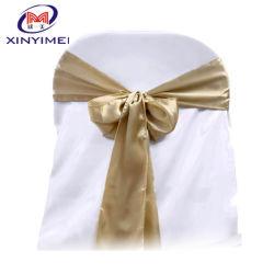 Hochzeit Taffeta Stuhl Striche in Gold Farbe Stuhl Schleife (XYM-S18)