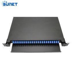 19 pouces coulissante ODF SC/UPC/APC 12 ports Fibre Optique LC 24 coeurs Patch Panel ODF FTTH SC/FC/St/LC Boîtier de terminaison de montage en rack