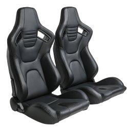 PVC negro de carbono cuero mirar hacia atrás con doble Slider de asiento de carreras de la cuchara
