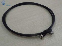 مجموعة كبل وصلة مرور فائقة المرونة مقاس 3000 مم/2 بوصة لعمود RF Coaxial مع 7/16 DIN Male إلى 7/16 DIN موصلات الزوايا اليمنى ذكر