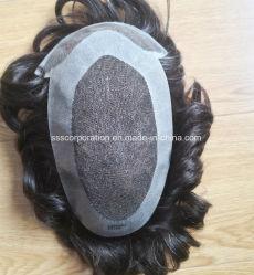 Швейцарские и Французские кружева W/полимерные покрытия базы человеческого волоса Toupee мужчин