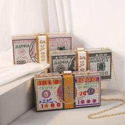 Borsa di cuoio genuina del raccoglitore di Saffiano di spalla di scintillio del sacchetto di Puwomen della gelatina della borsa di disegno su ordinazione trasparente Chain olografico di marchio