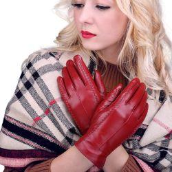 Bella piel de cordero de cuero al por Mayor de Invierno de alta calidad de las mujeres reales de la moda guantes para damas