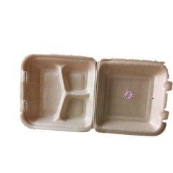 Горячей пищи 3 отсека вспенивания лоток для мяса биоразлагаемой упаковки в коробки в блистерной упаковке контейнер в