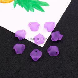 Le Crochet oreille colliers de perles en verre dépoli pétales de fleurs Pendentif DIY Earrings