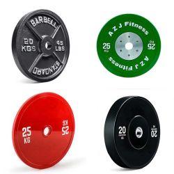 Schwarz-/Farben-Roheisen/Stahl-/Änderungs-Tri Griff des Gummi-Lb/Kg/Gymnastik/olympisches/Training/Competation/Standard-kalibriertes/Bruchstoßgewicht Anhebenplatten-auf Lager