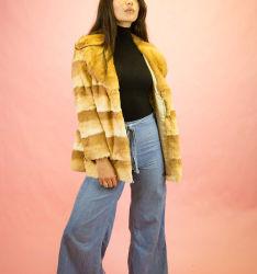 Fashion Mesdames hiver manteau manteau de fourrure de lapin avec de grands colliers