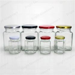 Accueil Utilisation du stockage le stockage de verre hexagonal Jar Jar de miel en verre
