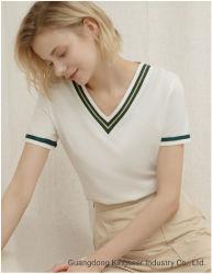 Förderndes Dame New Fashion Short Sleeve V-Stutzen Baumwollgewebe-beiläufiges Frauen-Shirt-Kleid