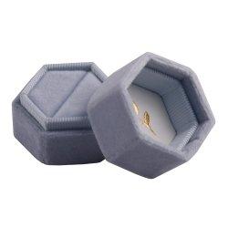 Clássico populares Hexágono Velvet Caixa de jóias anéis para Dom (8034R156)