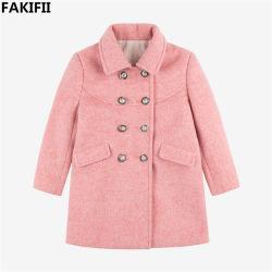 Spätester Rosa-Wolle-Mantel der Art-Aw2020 für Mädchen