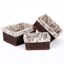 Декоративные контейнер для ручной работы из ротанговой пальмы природных ивы плетеная корзина для хранения и при печати внутренней панели боковины