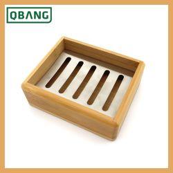 Casella d'acciaio di bambù di legno del piatto di sapone dell'annata di Stainess di marchio della fabbrica della Cina di corsa di uso portatile su ordinazione all'ingrosso poco costoso della casa con lo scolo