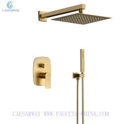 浴室壁に取り付けられた二重機能上のスプレーヤーのシャワーによってブラシをかけられる金のミキサーのシャワーのコックセット