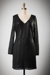 厳粛なポリエステルスパンコール黒いVの首のイブニング・ドレス