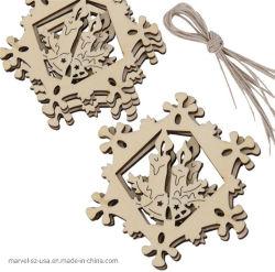 Ornamenten van Kerstmis van de Tegenhangers van de Decoratie van de Spaander van Kerstmis van de Vorm van de Herten van sneeuwvlokken de Houten Hangende
