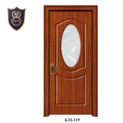 Design clássico MDF laminado de madeira interno com madeiras de Folhas para folheados de PVC porta do banheiro com inserto de vidro