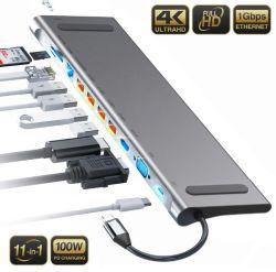 11 en 1 USB C moyeu pour l'HDMI+VGA+Ethernet+pd+3.5mm+charge USB3.0 prise jack Audio+TF/adaptateur de carte SD