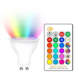 リモート・コントロール16のカラーのDimmable RGB 220V LEDの球根110V GU10 8W Lampada LEDランプRGBのスポットライトのグウ10 Bombillas LEDライト