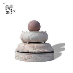 Accueil décoration de jardin piscine découverte en marbre Lotus Sculpture de base de Fengshui Fontaine à billes