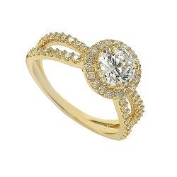 도매 925 여자를 위한 은 금 도금 큰 공간 CZ 결혼 반지 또는 형식 보석