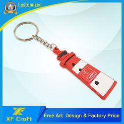 Professionnel personnalisé en PVC souple en caoutchouc Anneau de clé en plastique décoration personnalisée de la mode touche de fantaisie Tags cadeau d'anniversaire de la société de trousseaux avec Design Logo (KC-P21)