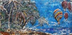 Décoration de mur de métal peinture d'huile de noix de coco de fer d'art et de l'arbre ballon à air chaud Dimension 3D