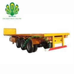 Venta caliente 40ft 3 remolques de camiones contenedores de superficie plana del eje