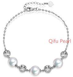 De aantrekkelijke Echte Zilveren Witte Armband van de Parel samen met het Uitbreiden van Ketting