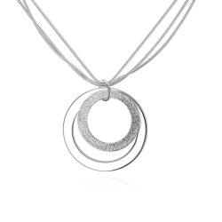 Simple Mutil Row Chain Necklace Two Round Shape Pendant Sterling Steel Necklace