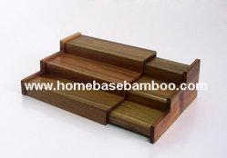 ウォールマートのアカシアの木製のテーブルトップの香辛料用の棚の棚の記憶のオルガナイザー