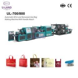 U-Land automatic all-in-One case non tissées Bag Making Machine avec poignée fixer