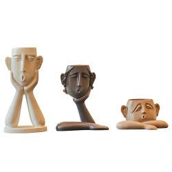 Figura abstrata de resina de decoração moderna casa de vaso de ornamentação artesanato para Flower Pot