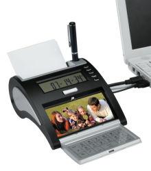 Tischrechner mit Feder-Halter-und Foto-Rahmen