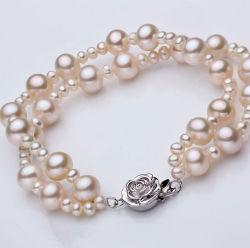 Mode double brins Bracelet perles naturelles ronde Commerce de gros
