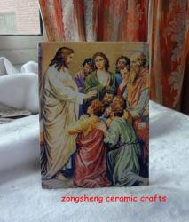 صورة زيتيّة خزفيّ مع يسوع