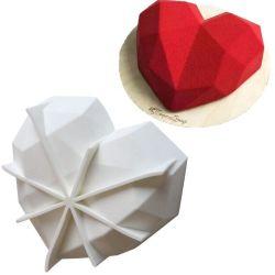 Certification RoHS LFGB, Noël / Valentine's Day Hot vendre 3D de silicium de diamants en forme de coeur moule à cake en silicone