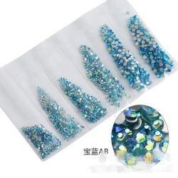 6 tamaños de mezcla 3D coloridos Nail Art Rhinestones, clavo de joyas de diamantes de cristal bricolaje Decoración de uñas